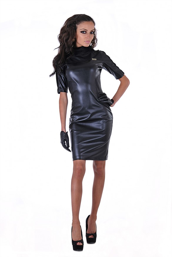 Leather Dress Black Front