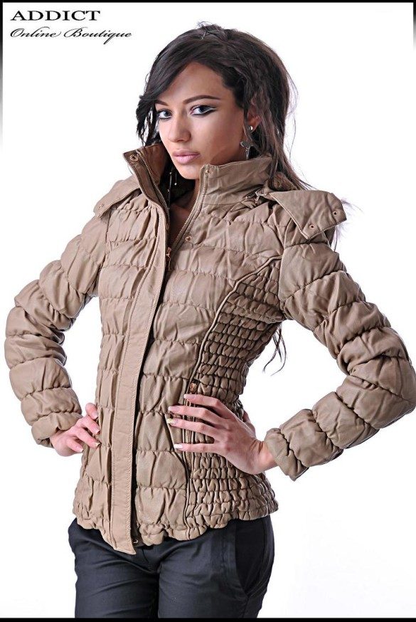 MOCHA LEATHER JACKET Elegantno Qke