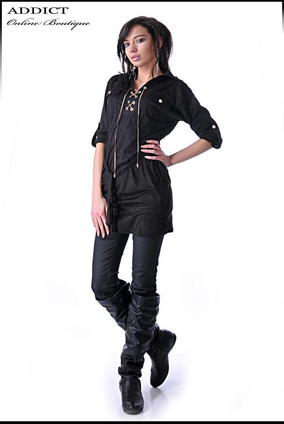 Dark Brown Tunic Elegantna Bluza 1