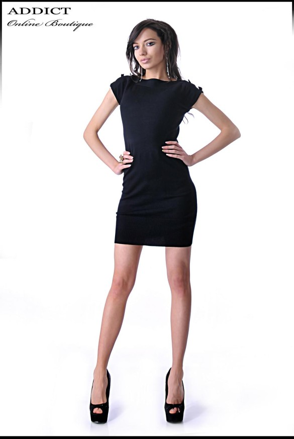 Roklq Black Dress Elegantna Ofis