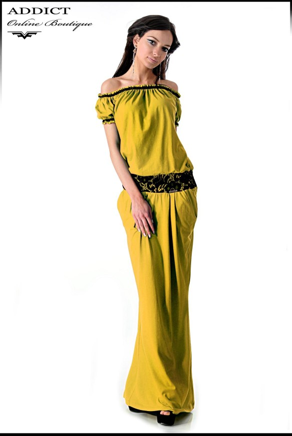 Eva Dark Yellow Dress Full Size