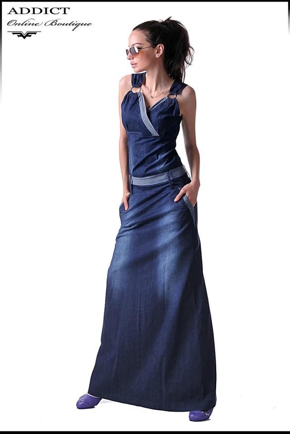 дънкова рокля BENITO цвят деним син