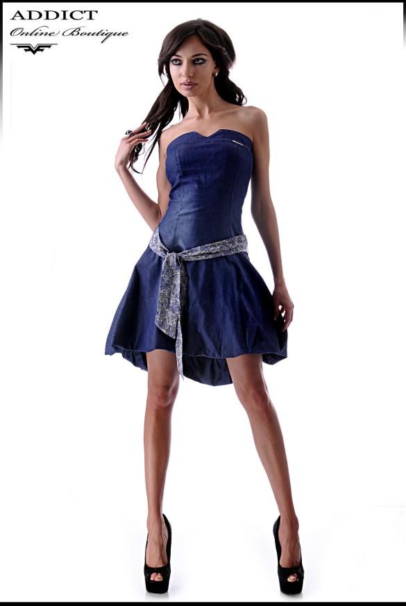 дамска синя рокля оана деним