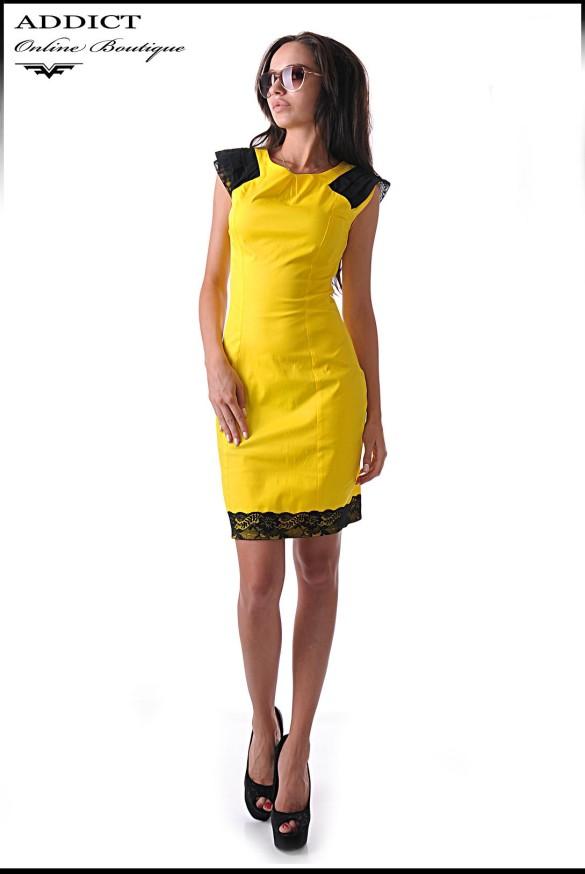 елегантна рокля bella yellow 1