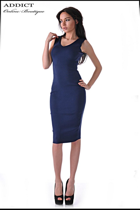 Вталена рокля SLIM DRESS BLUE