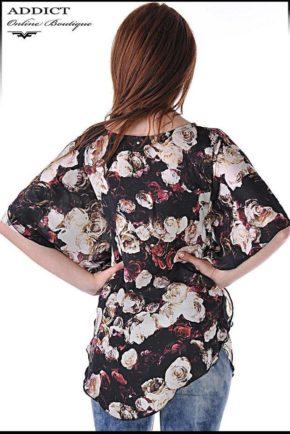 lyatna tymno  bluza blouse butterfly roses 2
