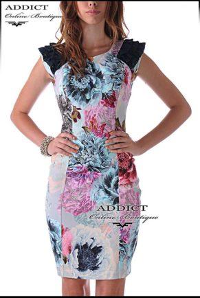 шарена лятна рокля със щампа на цветя
