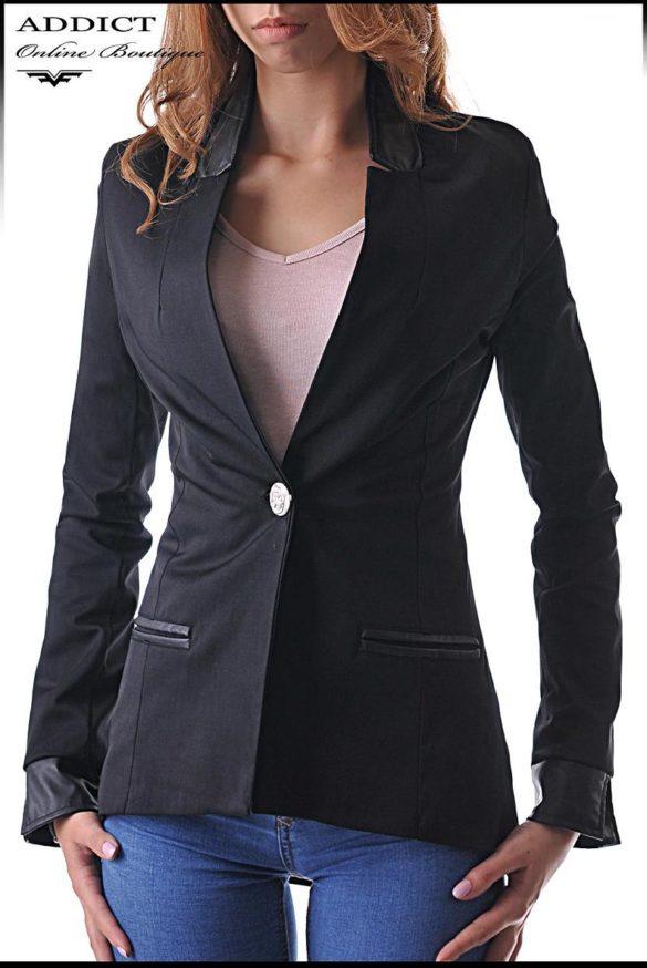 elegantno cherno sako elegant coat 5 slim