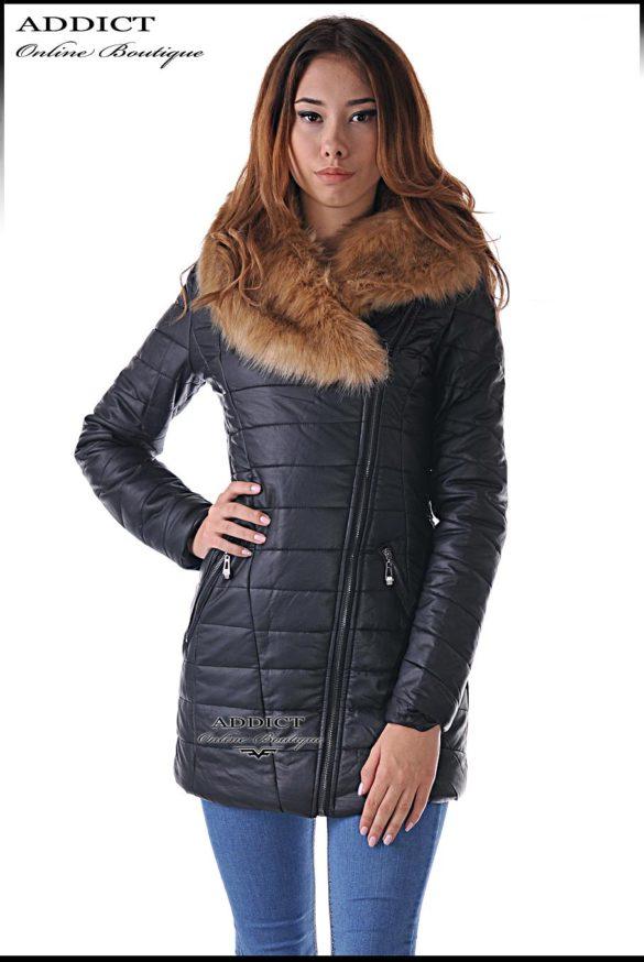sportno коjeno  cherno yake s puhena yaka 4 leather jacket