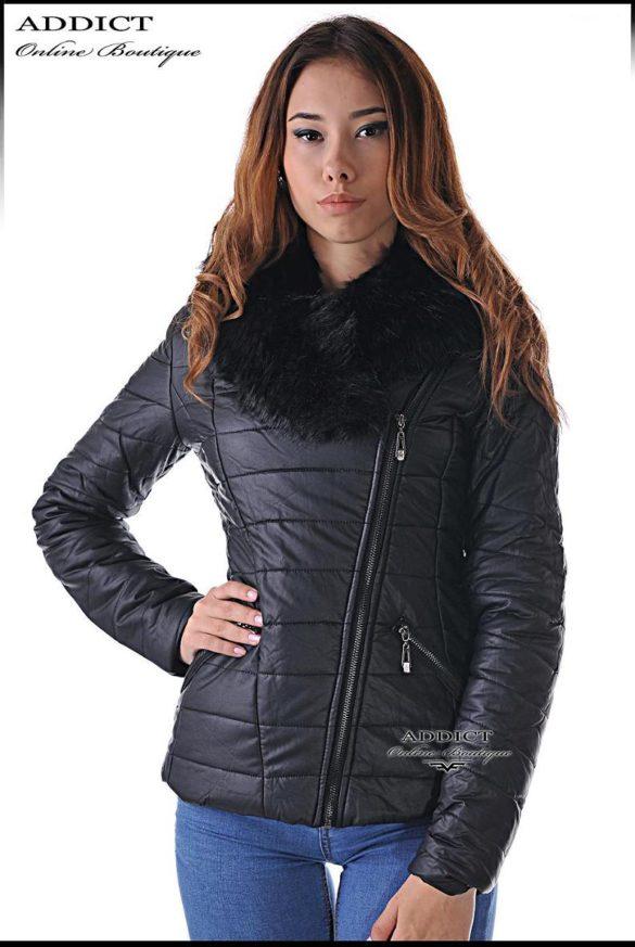 sportno коjeno  cherno yake s puhena yaka 5 leather jacket