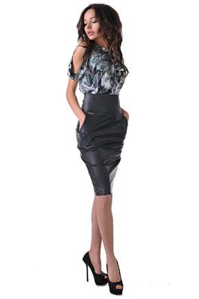 черна елегантна кожена дизайнерска рокля от бутик адикт