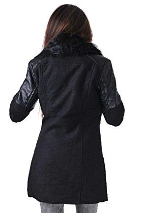elegantno cherno palto s puhena yaka puma overcoat ot butik addict 13
