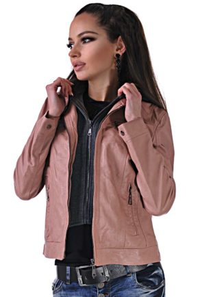 leather pink jacket