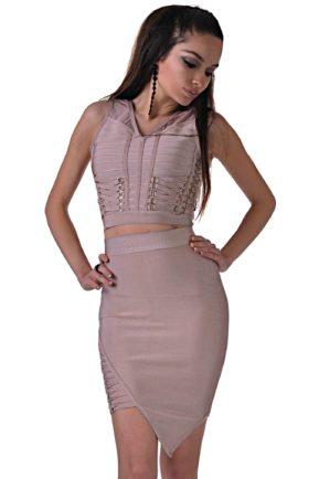 elegantna cherna roklya ot butik addict cosmo black 7 pink 2