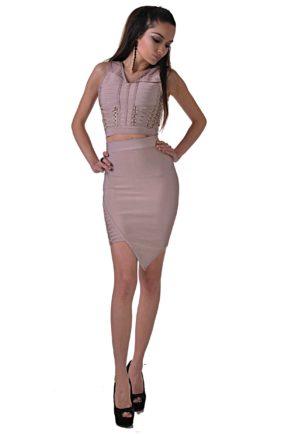 elegantna cherna roklya ot butik addict cosmo black 7 pink