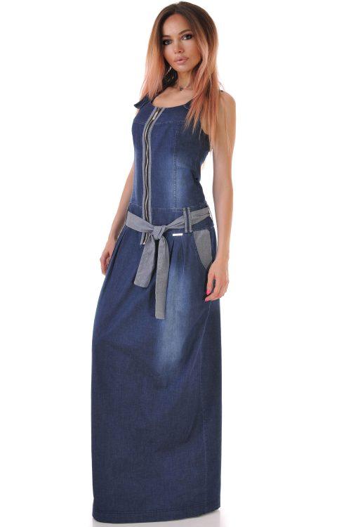 дълга дънкова рокля