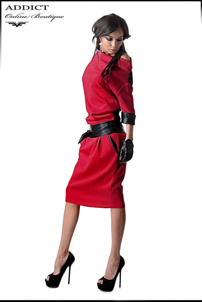 рокля с кожен колан и 7/8 ръкави адикт бутик