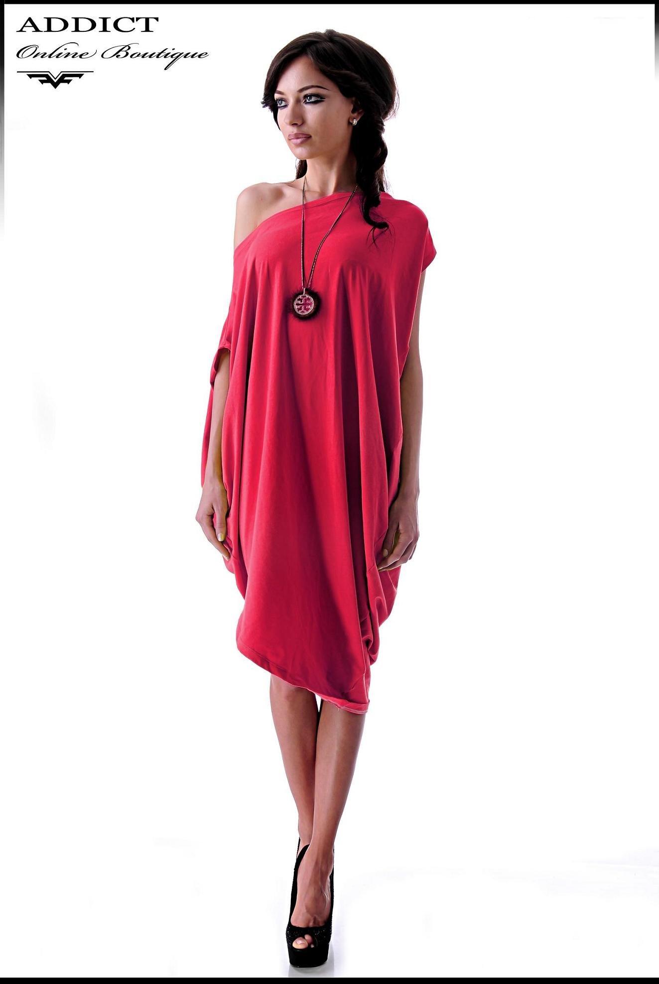 червена рокля BIANKA RED CORAL