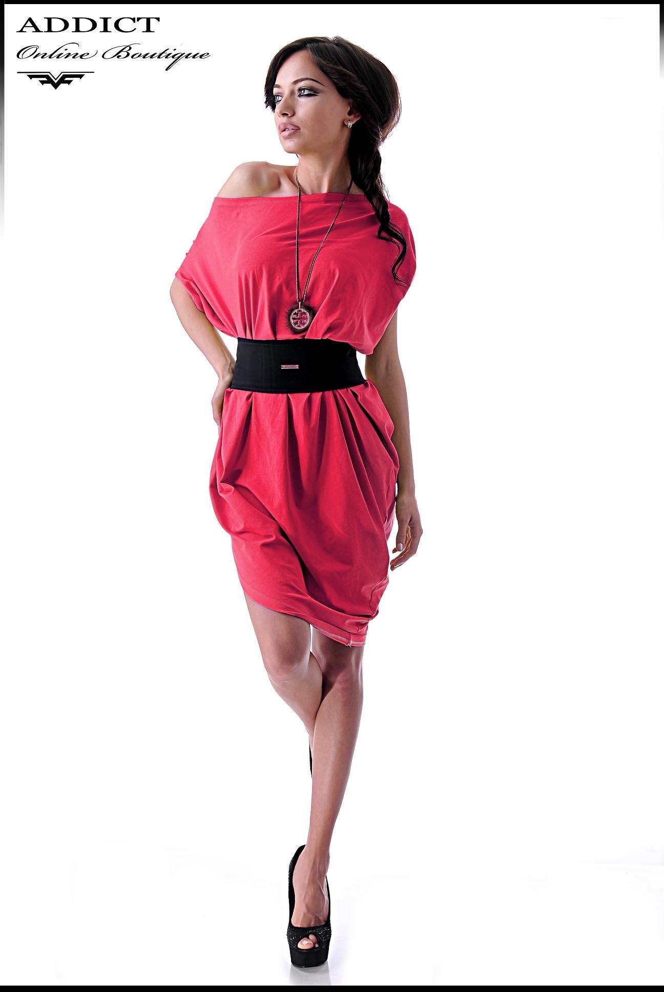 червена рокля BIANKA RED CORAL къса