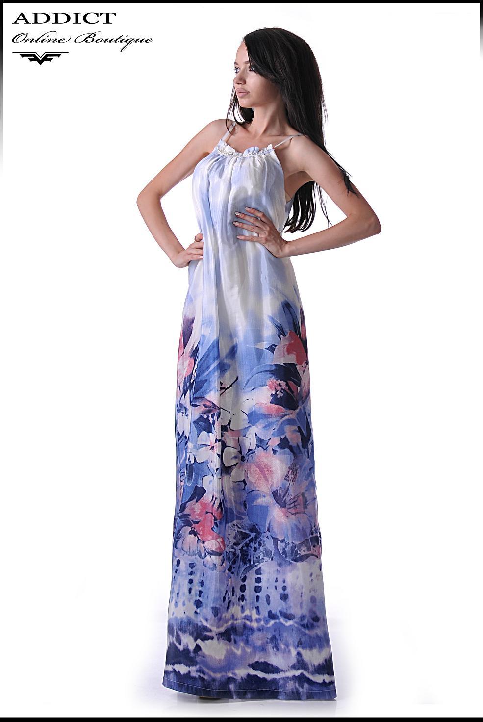 дълга рокля алиса синя