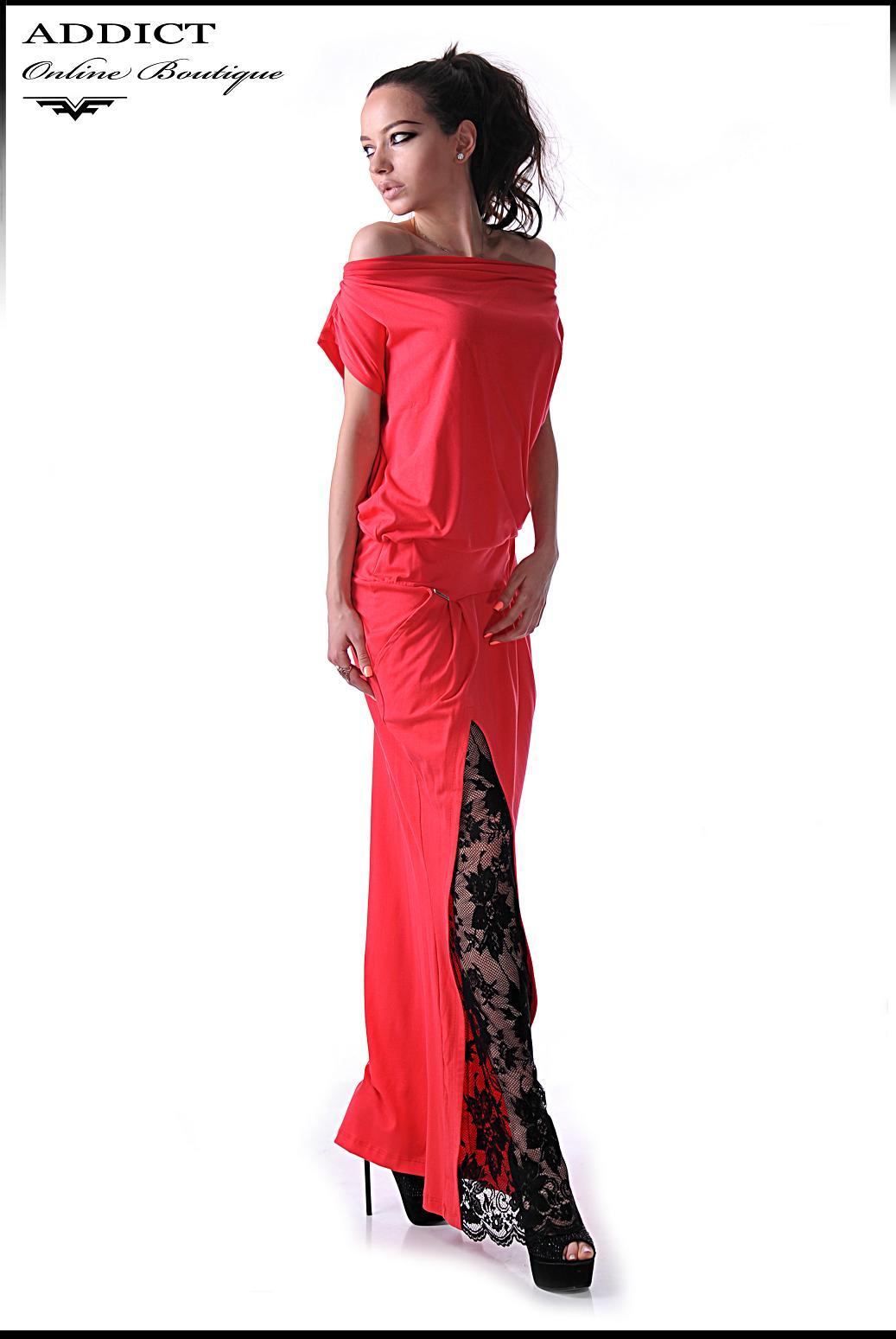 червена елегантна рокля марая