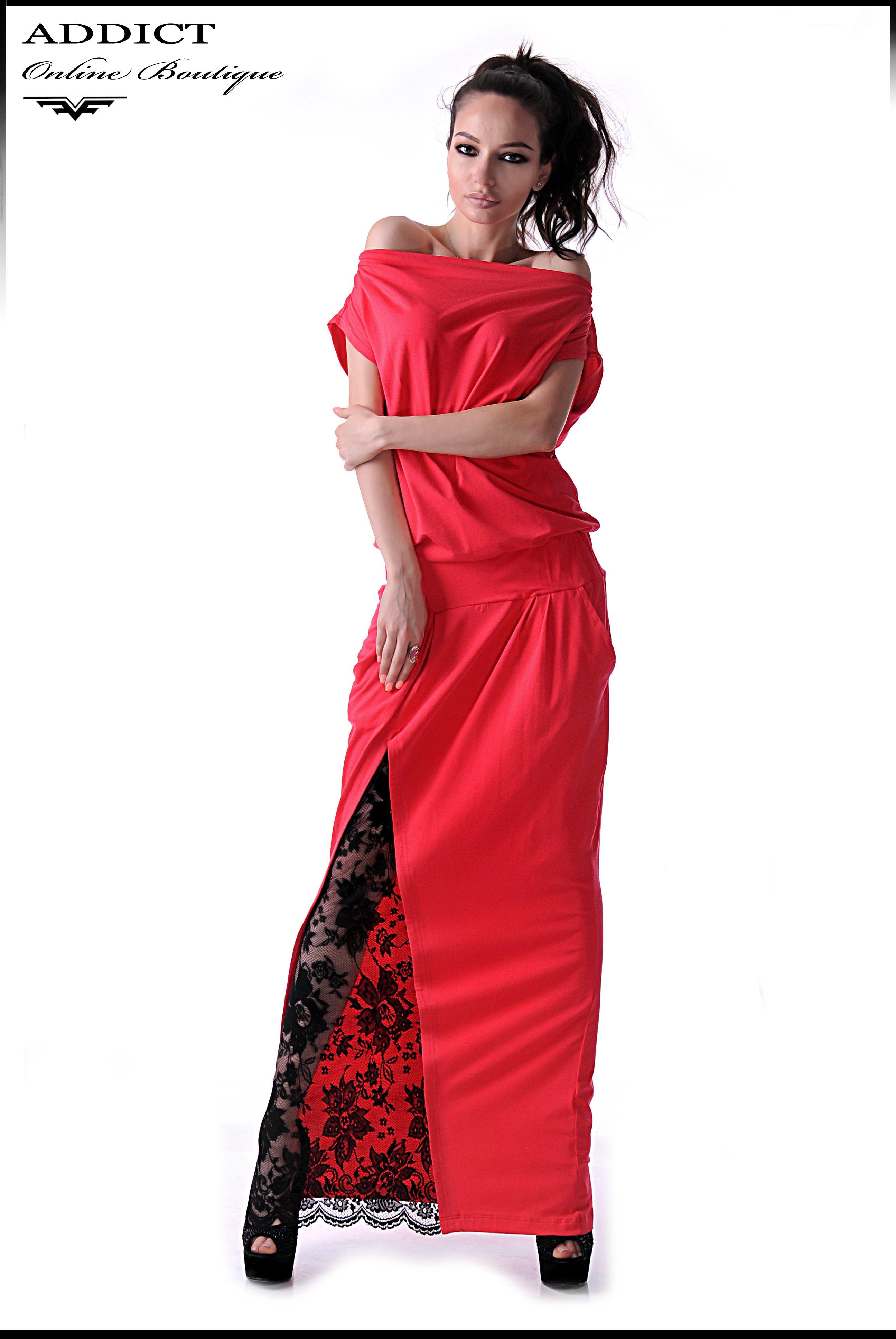 червена елегантна рокля MARAYA CORAL RED