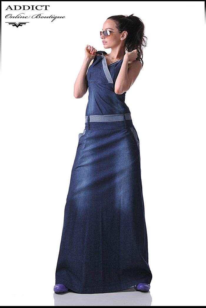 синя дънкова рокля BENITO