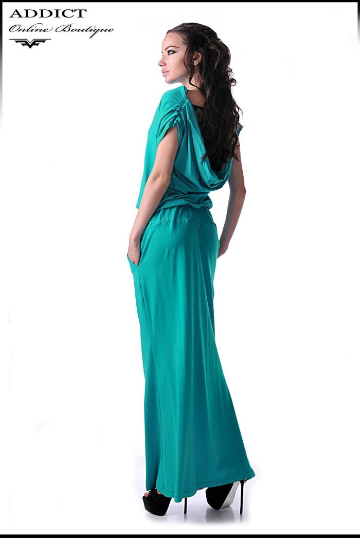 синя рокля дълга тюркуаз