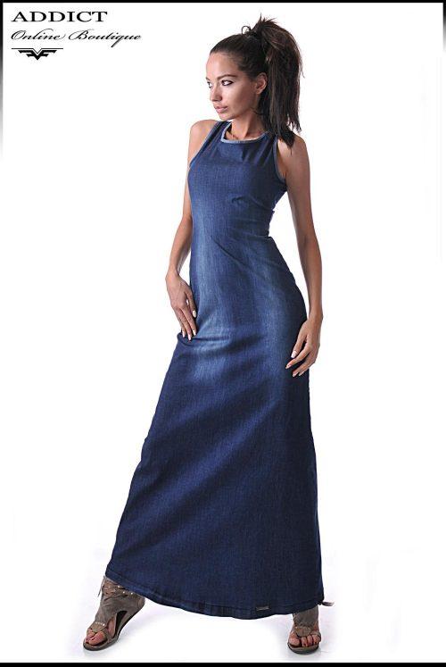 дънкова рокля дълга