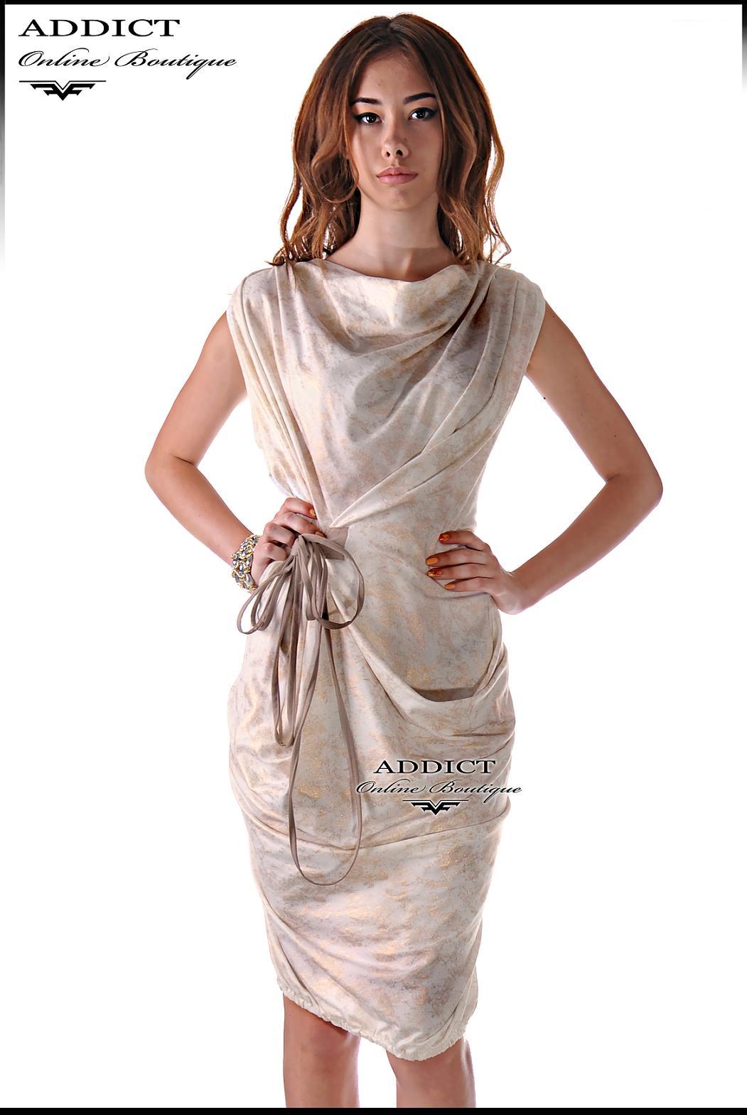 Спортно елегантна лятна рокля екрю