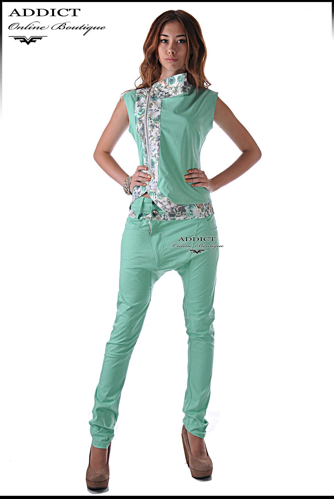спортен комплект цвят мента панталон и елек адикт бутик