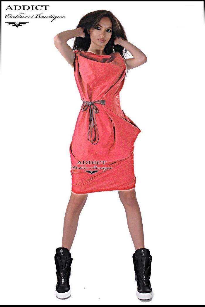 спортна лятна рокля в коралов цвят