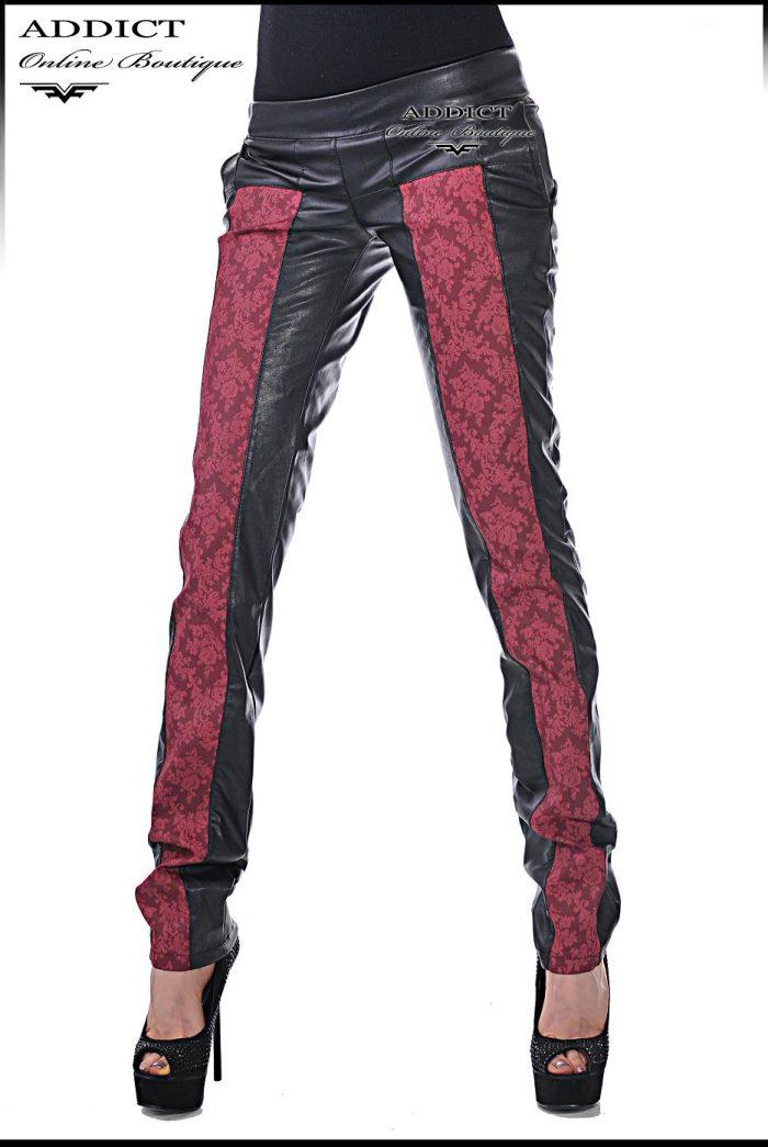 спортен елегантен черен кожен панталон