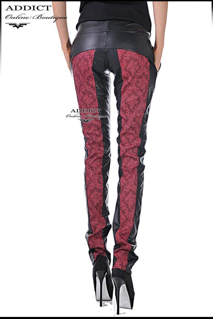 спортен елегантен черен кожен панталон червен кант адикт