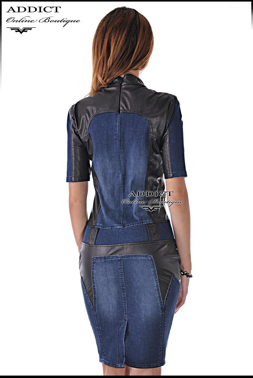 дънкова дизайнерска рокля MILANO