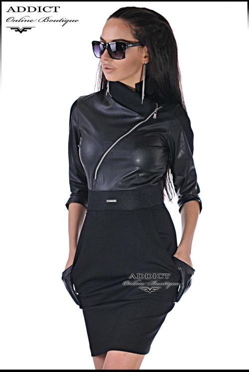 елегантна черна рокля от адикт бутик