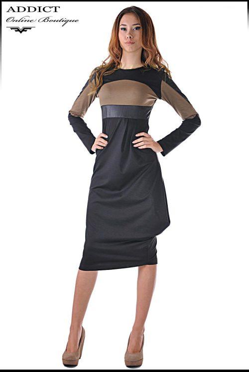 рокля в два цвята и кожа от адикт бутик