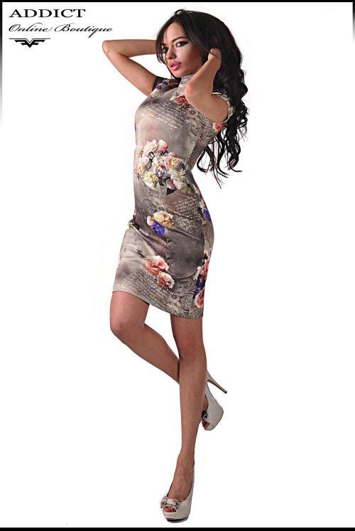 рокля със щампа на цветя от адикт бутик
