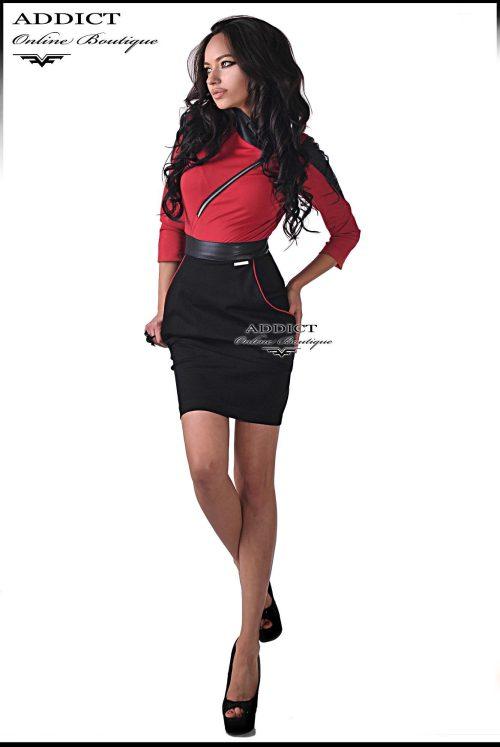 рикля от трико кожа червено черно адикт бутик