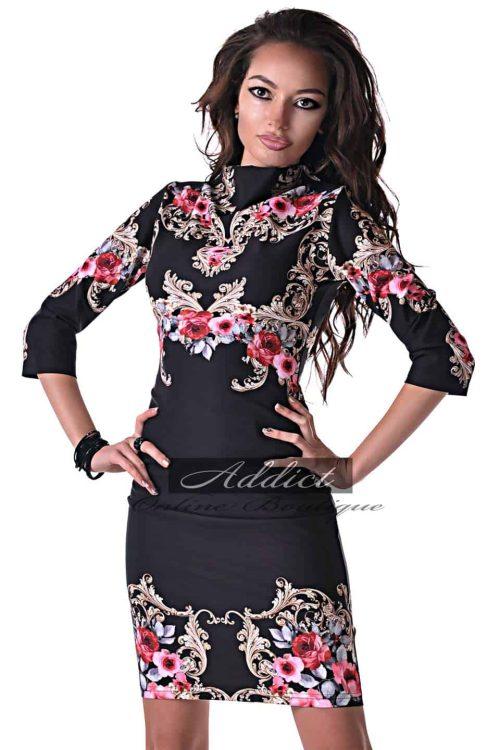 дизайнерска черна рокля с орнаменти от бутик адикт