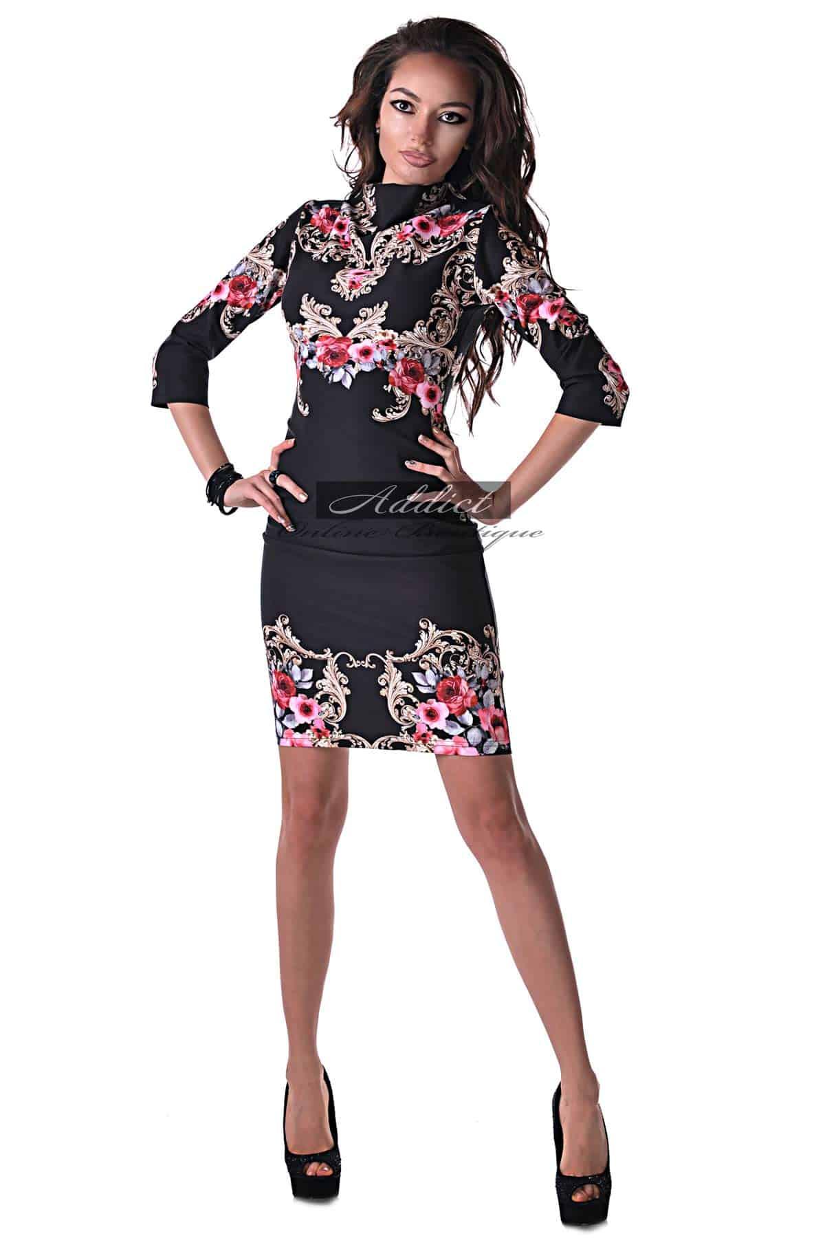 черна дизайнерска рокля на орнаменти от бутик адикт