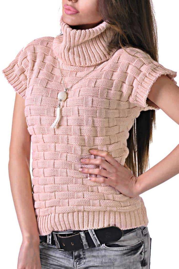 зимна блуза цвят пудра