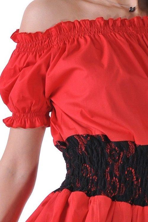 червена риза с черна дантела от адикт бутик
