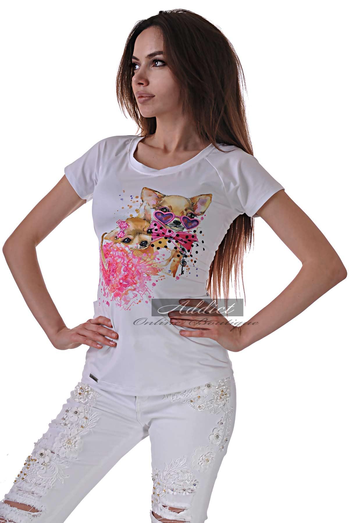 бяла тениска с кученца
