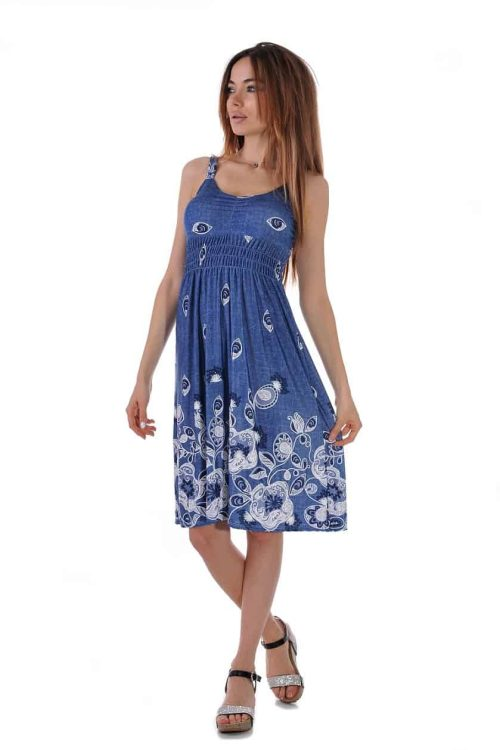 плажна лятна синя рокля