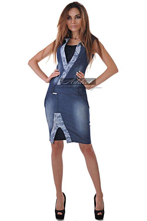 дънкова рокля с декоративна материя българско производство