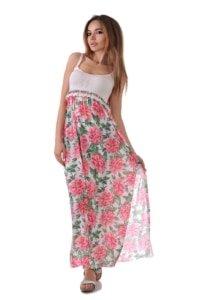 плажна рокля на цветя и шарени топчета адикт бутик