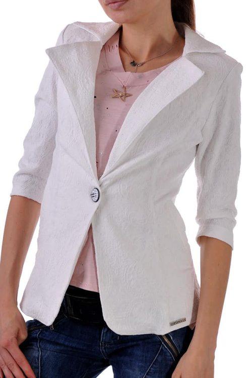 бяло сако от еластичен жакард със 7/8 ръкав