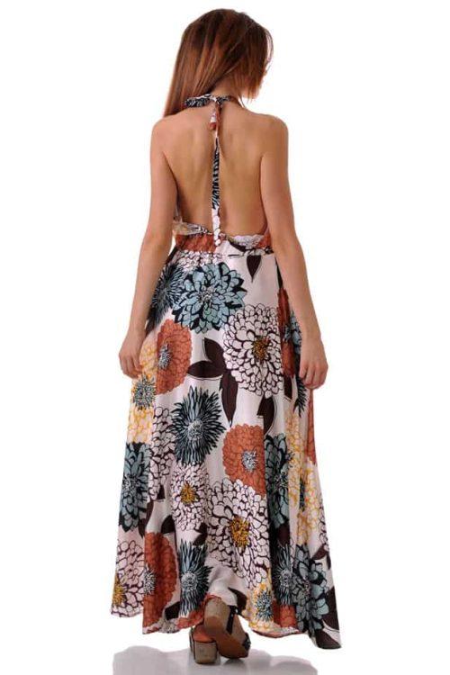 дълга лятна рокля сатен цветя адикт
