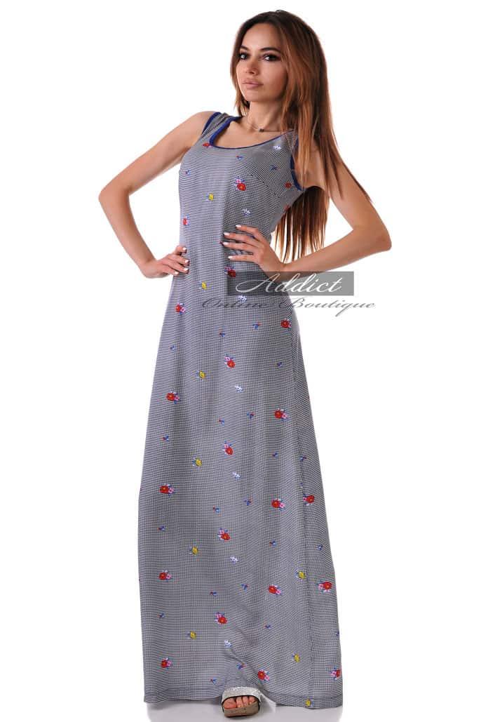 дълга рокля от пипи и син кант адикт бутик